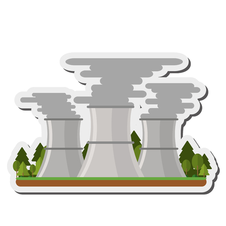 flat design nuclear plant icon vector illustration