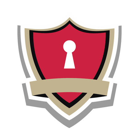 flat design safety lock shield icon vector illustration