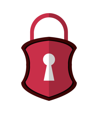 flat design safety lock shield icon vector illustration