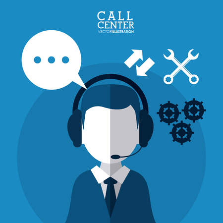 technical assistant: operator assistant man headphone bubble wrench gears call center technical service icon, Vector illustration
