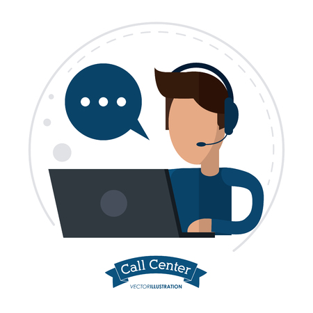 technical assistant: operator assistant man laptop headphone bubble call center technical service icon, Vector illustration Illustration