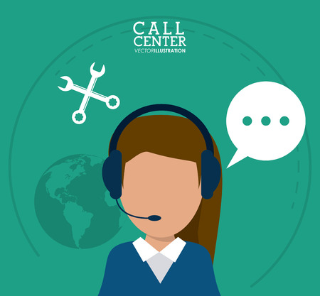 technical assistant: operator assistant woman headphone wrench bubble planet call center technical service icon, Vector illustration
