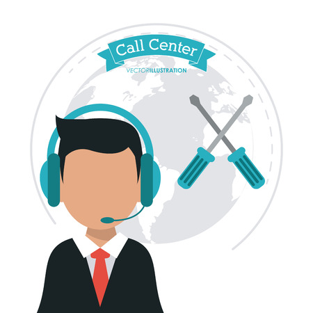 technical assistant: operator assistant man headphone screwdriver planet call center technical service icon, Vector illustration