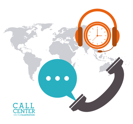 associates: phone bubble headphone clock map call center technical service icon, Vector illustration