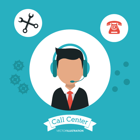 technical assistant: operator assistant man headphone wrench phone call center technical service icon, Vector illustration