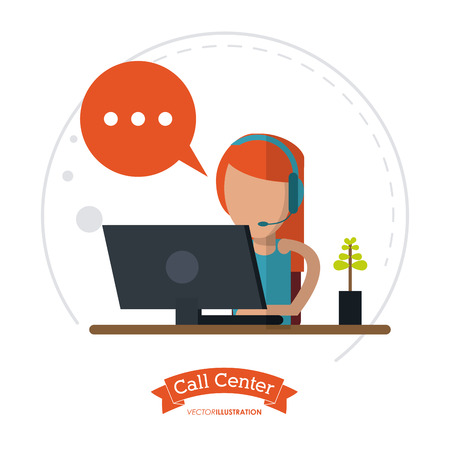 computer operator: operator assistant woman headphone computer bubble plant call center technical service icon, Vector illustration