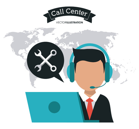 technical assistant: operator assistant man laptop wrench headphone call center technical service icon, Vector illustration