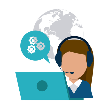 technical assistant: operator assistant woman headphone laptop bubble gears planet call center technical service icon, Vector illustration