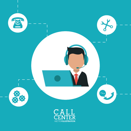 technical assistant: operator assistant man laptop wrench gears headphone call center technical service icon, Vector illustration