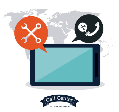 coworker: tablet bubble wrench call center technical service icon, Vector illustration