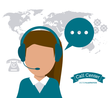 technical assistant: operator assistant woman headphone bubble map phone gears call center technical service icon, Vector illustration