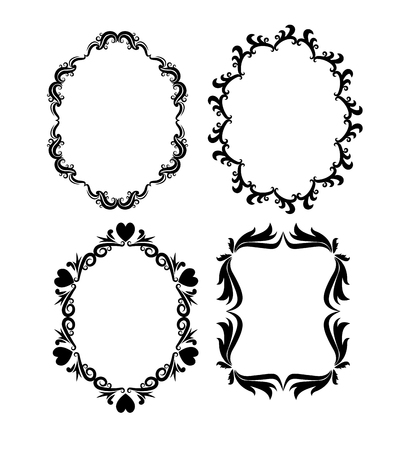 frame oval: Vintage frame oval ornament decoration icon set. Isolated and black illustration