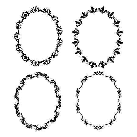 Vintage frame ornement ovale décoration icon set. Isolé et noir illustration