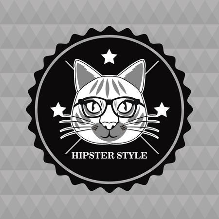 cat glasses seal stamp animal hipster style retro fashion icon. Black white grey illustration Polygonal background Illustration