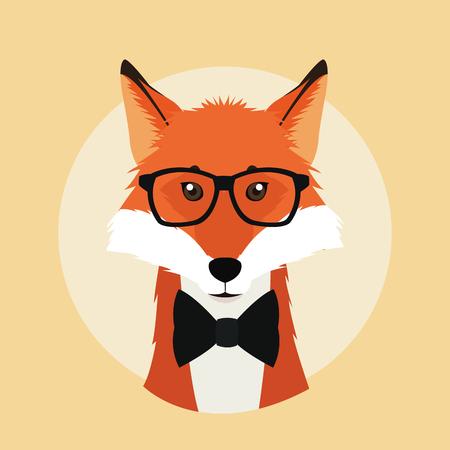 лиса очки животное битнику стиль значок ретро моды, векторные иллюстрации Фото со стока - 61379551