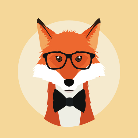 fox glasses animal hipster style retro fashion icon, Vector illustration Illustration