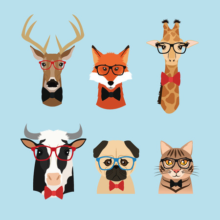 retro glasses: cat dog cow giraffe fox reindeer deer glasses animal hipster style retro fashion icon, Vector illustration blue background Illustration