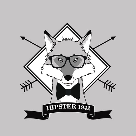 fox glasses frame arrow animal hipster style retro fashion icon.  Black white grey illustration