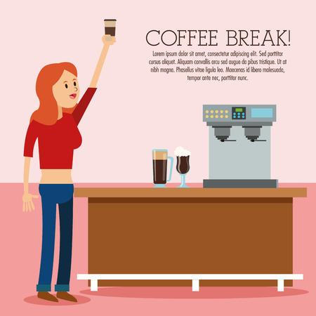 glass break: woman female cartoon glass coffee break shop store icon. Colorfull illustration. Vector graphic
