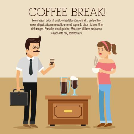 glass break: woman man female male cartoon people table glass coffee break shop store icon. Colorfull illustration. Vector graphic