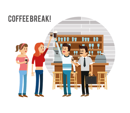 woman man female male cartoon people coffee break shop store icon. Isolated and Colorfull illustration. Vector graphic Illustration