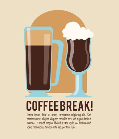 glass break: coffee glass break shop store icon. Colorfull illustration. Vector graphic