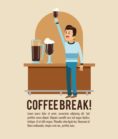 glass break: man male cartoon glass coffee break shop store icon. Colorfull illustration. Vector graphic Illustration