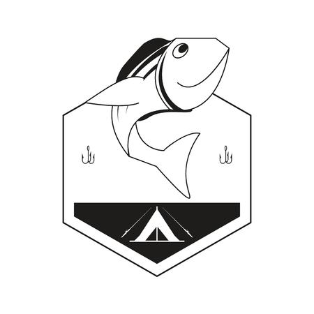 minnow: flat design fishing emblem icon vector illustration