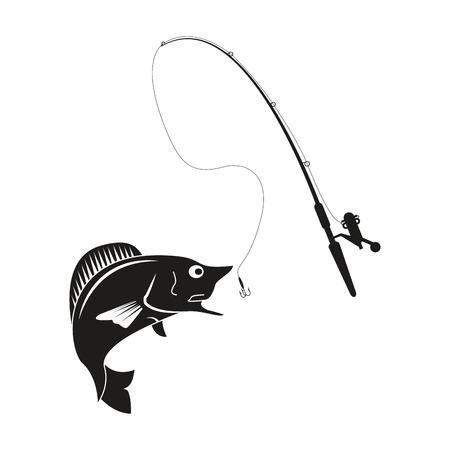 flat design fishing rod and rod icon vector illustration