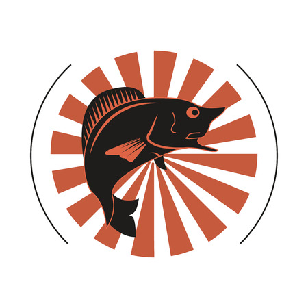 flat design fishing emblem icon vector illustration