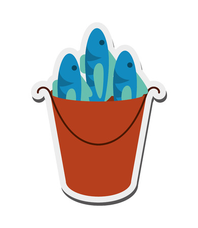 seafoods: flat design bucket of fish icon vector illustration