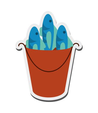 flat design bucket of fish icon vector illustration