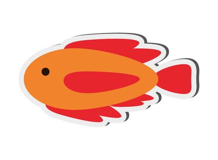 flat design single fish icon vector illustration