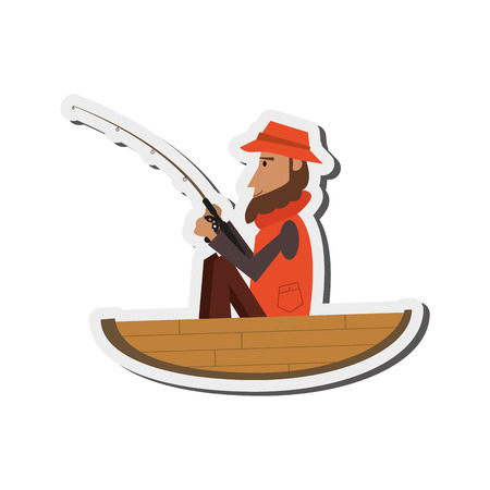 man fishing: flat design man fishing on boat icon vector illustration
