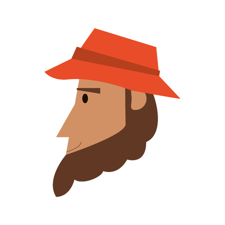 flat design face of man with hat icon vector illustration