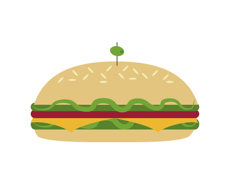 uncooked: flat design sandwich with olive icon vector illustration Illustration