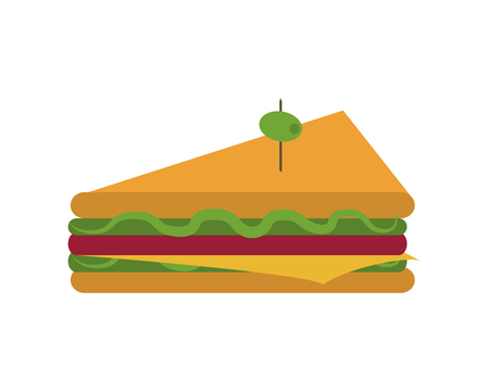 flat design triangle sandwich with olive icon vector illustration