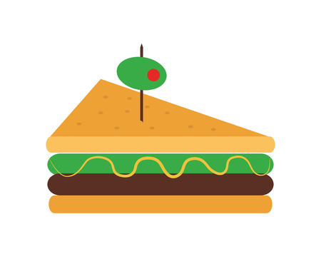 peppar: flat design triangle sandwich with olive icon vector illustration