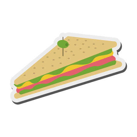 uncooked bacon: flat design triangle sandwich with olive icon vector illustration