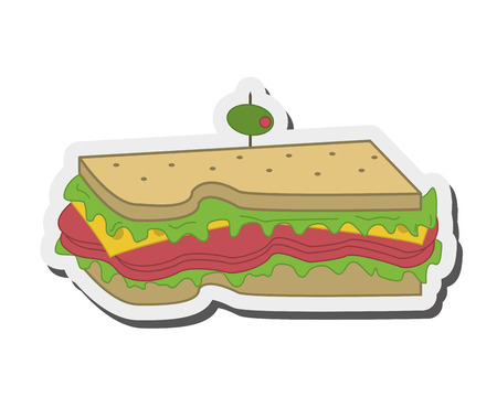 uncooked bacon: flat design sandwich with olive icon vector illustration Illustration