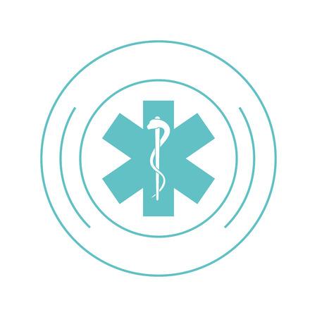 esculapio: flat design medical asclepius rod icon vector illustration