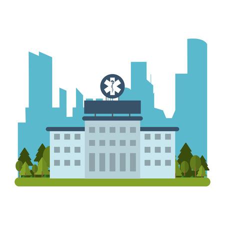 tree works: flat design hospital building icon vector illustration Stock Photo