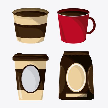 break time: Coffee mug cup bag shop beverage icon. drink and break time design, vector illustration