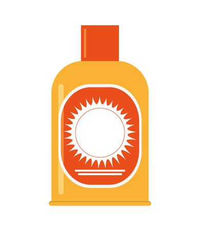 sun block: flat design sunscreen lotion icon vector illustration Illustration