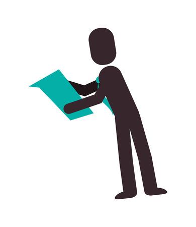 flat design businessman pictogram reading icon vector illustration Illustration