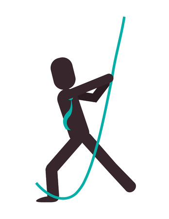 pulling rope: flat design businessman pictogram pulling rope icon vector illustration