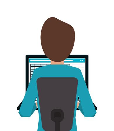 using laptop: flat design person using laptop icon vector illustration