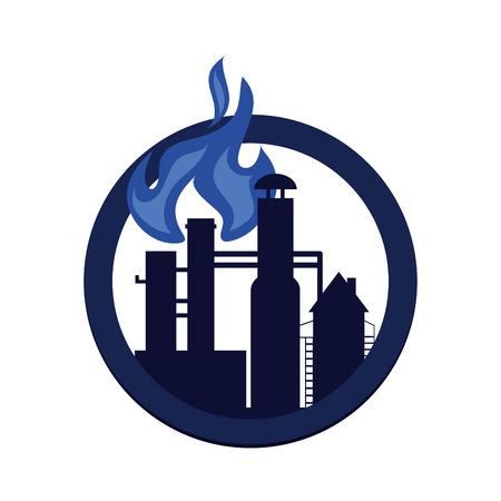 flat design oil refinery icon vector illustration