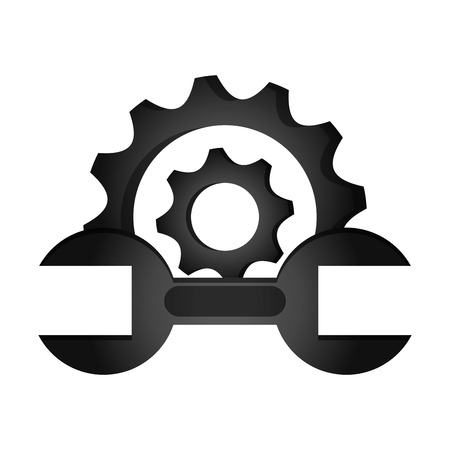 power wrench: flat design gear and wrench icon vector illustration
