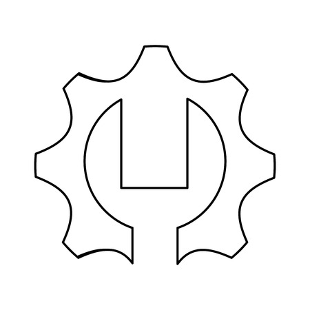 flat design gear and wrench icon vector illustration